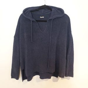 AE Aerie V Neck Navy Blue Knit Loose Fit Hoodie